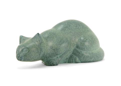 Pouncing Cat Urn - Patina Image