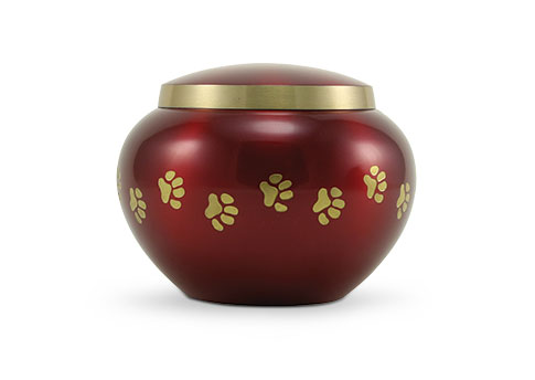Odyssey Paw Print Urn - Crimson Image